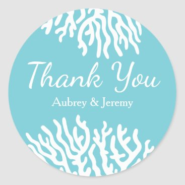 Beach Themed Coastal White Sea Coral Couple's Names Thank You Classic Round Sticker