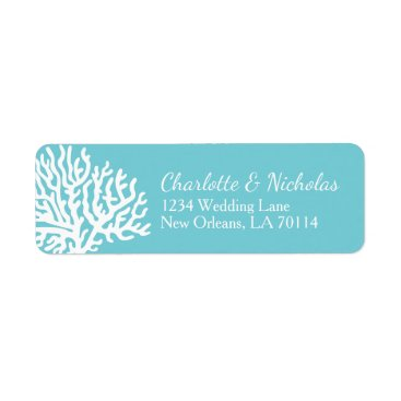 Beach Themed Coastal White Sea Coral Couple's Names Wedding Label
