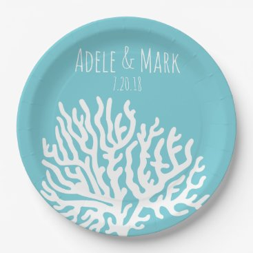 Beach Themed Coastal White Sea Coral Couple's Names Wedding Paper Plate
