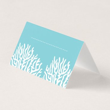 Beach Themed Coastal White Sea Coral & Cyan Blue Name Place Card