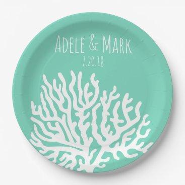Beach Themed Coastal White Sea Coral Sea Glass Green Wedding Paper Plate