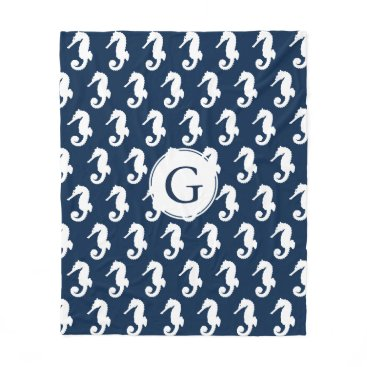Beach Themed Coastal White Seahorses & Navy Blue Fleece Blanket