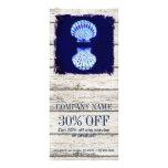 coastal whitewashed wood nautical blue seashells rack card