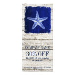 coastal whitewashed wood nautical blue starfish rack card