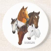 Coaster, 5 Horse Heads Sandstone Coaster