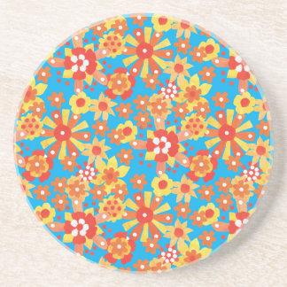 Coaster or Drinks Mat: Ditzy Orange Flowers