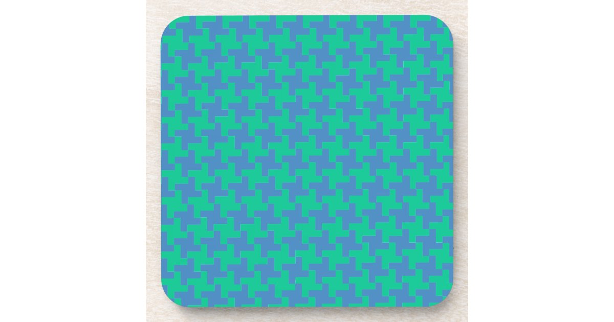 Coaster Or Table Mat Emerald And Blue Dogtooth Zazzle