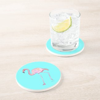 Coaster- Pink Flamingo Turquoise Blue Drink Coaster