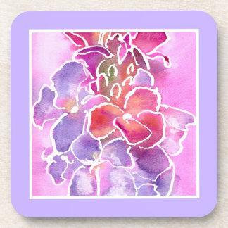 Coaster, Pink, Mauve, Blue Wallflowers Drink Coaster