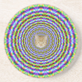 Coaster  Psychedelic Neon Ripples