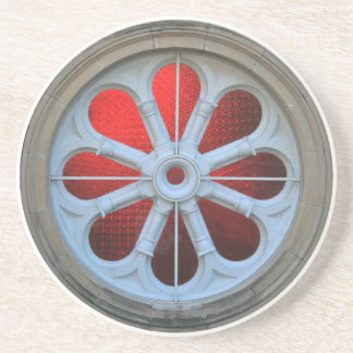 COASTER Red Stain Glass on Round Stone