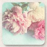 coaster set 3 pink peonies