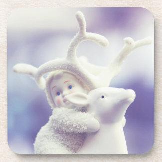 coaster set Christmas child and reindeer