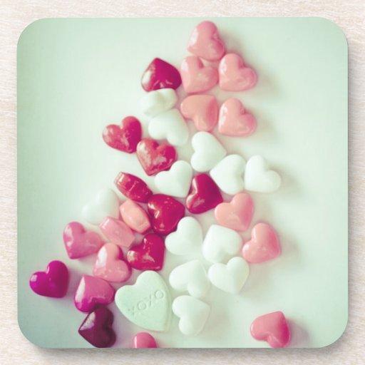 coaster set cork candy hearts