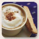 coaster set cork latte and biscotti