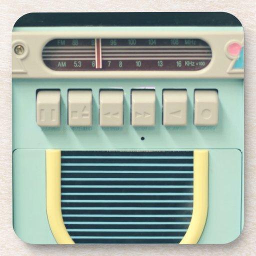 coaster set cork retro vintage radio