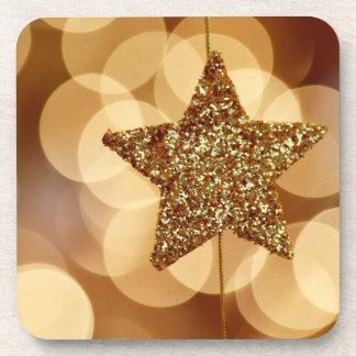 coaster set gold sparkly Christmas star