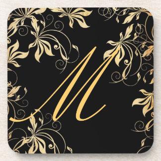 Coaster Set - Golden Elegance Monogram
