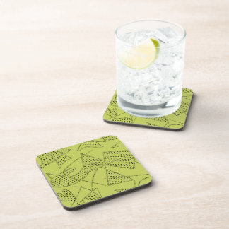 Coaster Set Of 6 : ATOMIC BOOMERANG - CHARTREUSE