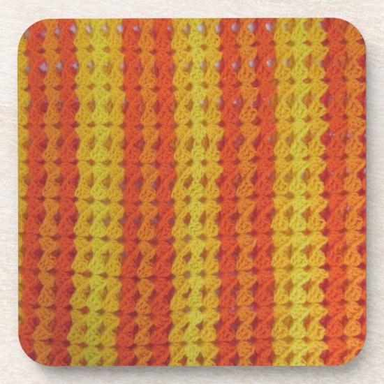 Coaster set - Orange afghan