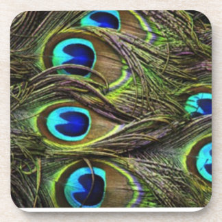 Coaster Set Peacock Feathers