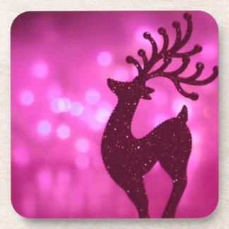 coaster set pink Christmas reindeer