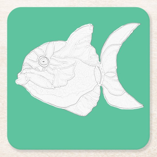 Coaster Set - Striped Fish to Color