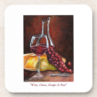 Coaster Set - Wine Cheese Grapes & Pear