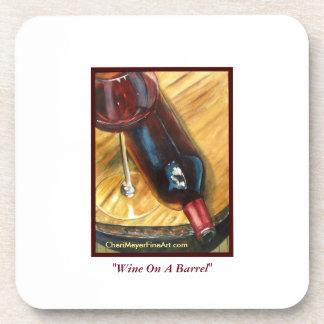Coaster Set - Wine On A Barrel