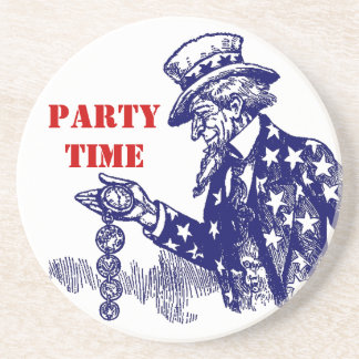 """Coaster Uncle Sam w/ Pocket Watch Fob """"party time"""""""