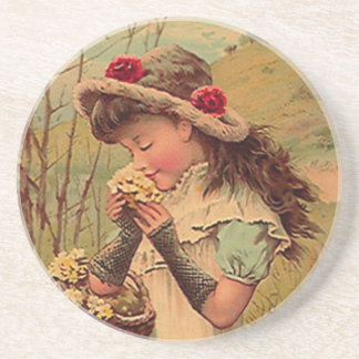 Coaster Victorian Girl Collecting the Wild Flowers
