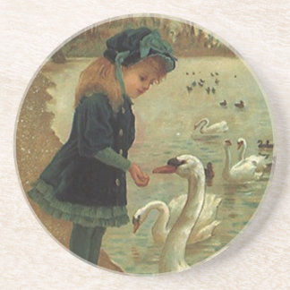 Coaster Victorian Girl Feeding Trumpeter Swans