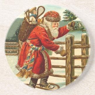 Coaster Vintage Christmas Santa On Snowshoes wood