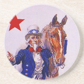 Coaster Vintage Uncle Sam With a Cavalry Horse