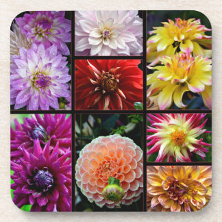Coaster with beautiful multicoloured dahlias