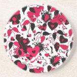Coaster with broken hearts design