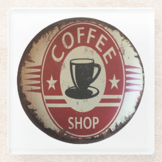 Coaster with coffee shop sign in red and black