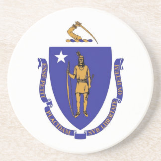 Coaster with Flag of the Massachusetts, USA