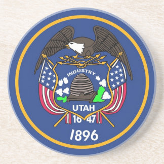 Coaster with Flag of the Utah State, USA