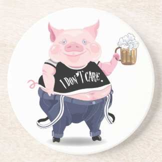 Coaster  with funny pig picture