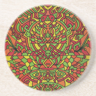 Coaster with Himalayan Inspirations in Orange Hues