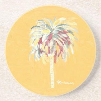Coaster Yellow Canary Palm Tree- Sandstone Coaster