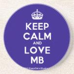 [Crown] keep calm and love mb  Coasters