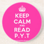 [Crown] keep calm and read p.y.t  Coasters