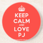 [Crown] keep calm and love pj  Coasters
