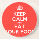 [Crown] keep calm and eat your food  Coasters