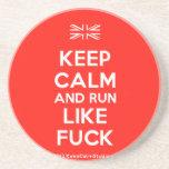 [UK Flag] keep calm and run like fuck  Coasters