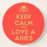 [Skull crossed bones] keep calm and love a aries  Coasters