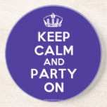 """Coasters<br><div class=""""desc"""">Based on the original Keep Calm and ...  poster this cream and blue Keep Calm and Party On Coaster features a custom designed font that matches the original closely.</div>"""