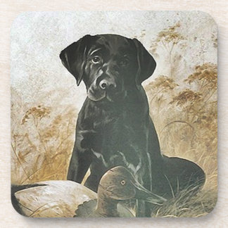 Coasters Black Lab Labrador Puppy Dog w Duck Decoy